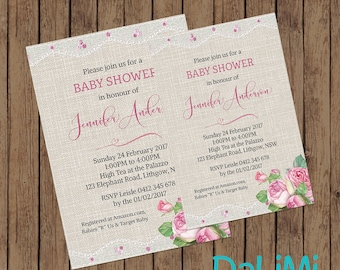 Baby Shower Invitation - Floral Shower Invitation - Burlap and Lace Invitation - Printable Invitation - Personalised - Digital File!