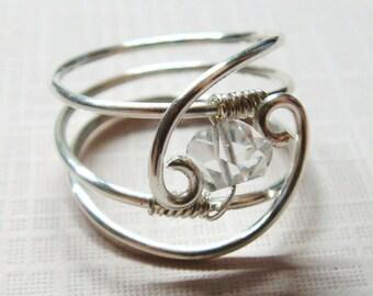 Engagement Ring, Diamond Ring, Herkimer Diamond Gemstone, Sterling Silver Ring, Silver Ring, 14K Solid White Gold, Wedding Ring, Anniversary