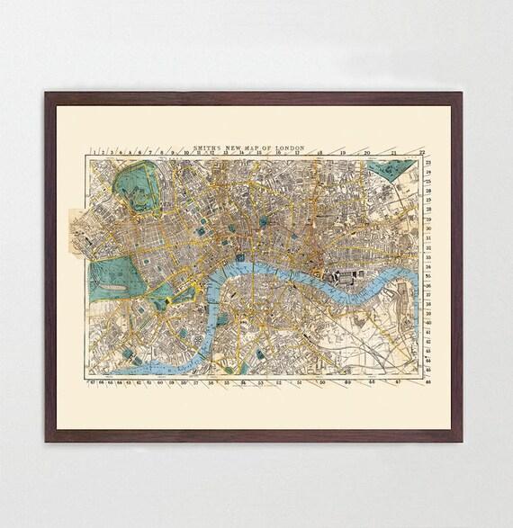 London Map - England Map Art - Map Decor - Vintage Map - Great Britain - United Kingdom - UK Map - London Map - London City Map - London Art