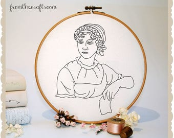 Jane Austen Hand Embroidery pattern with applique dress