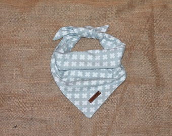 """The """"Positive"""" Grey and White Cozy Flannel Dog Bandana."""