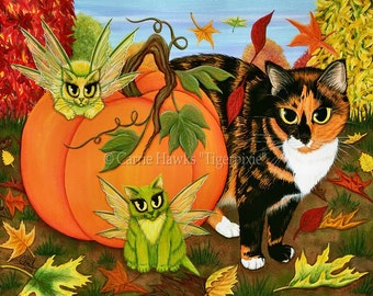 Calico Cat Fairy Cats Painting Fall Pumpkin Cats Autumn Harvest Halloween Art Fantasy Cat Art ACEO / ATC Mini Print Cat Lovers Art