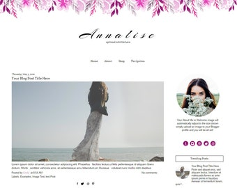 Blogger Template - Watercolor Blog Template - Purple Blogger Template -Responsive Blogger Template