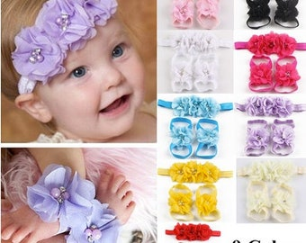 Three Flower Headband & Sandals