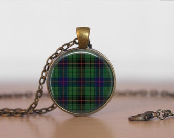 DAVIDSON TARTAN Pendant Necklace / Scottish Tartan Jewelry / Ancestral Jewellery / Davidson Clan /  Family Jewelry / Personalized Gift /
