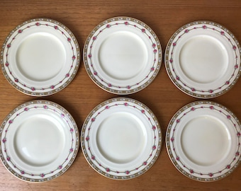"Grindley England ""Merlin"" Plates, Vintage Ceramic Side Plates, Cherries and Roses Bread and Butter Plates"
