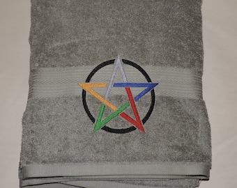 RTS Elemental Pentacle Embroidered Bath Towel Wicca witchcraft Bathroom witcraft Pagan spirituality Ready to ship Yule gift