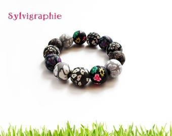 Bracelet black polymer clay beads