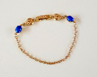 Bracelet Blue Denim Lapis Gemstone and Raw Brass Hear Rolo Chain and Filigree Heart Link