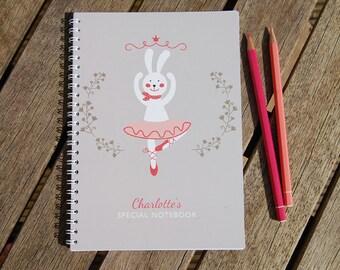 Bunny Ballerina Personalised Notebook