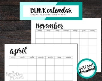 Blank Calendar, Black & White Simple Calendar, Instant Download, Print at home