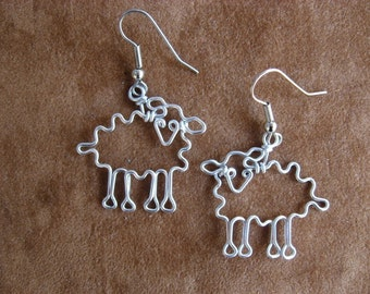 Sheep earrings  wire wrapped