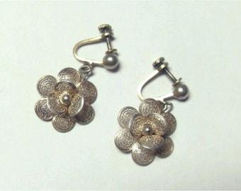 Vintage Sterling Silver Filigree Wire Flower Screw Back Dangle Earrings