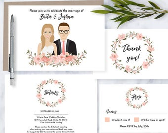 Custom Illustrated Wedding Invitation, Drawing on invite, pink peach blossoms, Couple portrait, printable, digital file