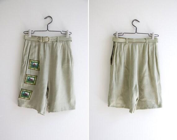 vintage 1950s shorts   green linen shorts   high waisted shorts