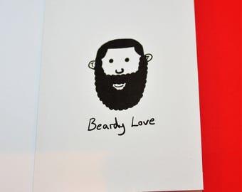 Fun novelty card 'Beardy Love', Valentines Card, Love card, For him