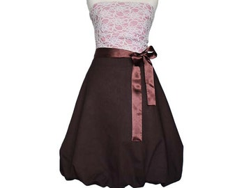MISS BAY - Balloon dress, antique pink, brown, lace, wedding, white, bridesmaid dress, pink, strapless, prom, Sundress