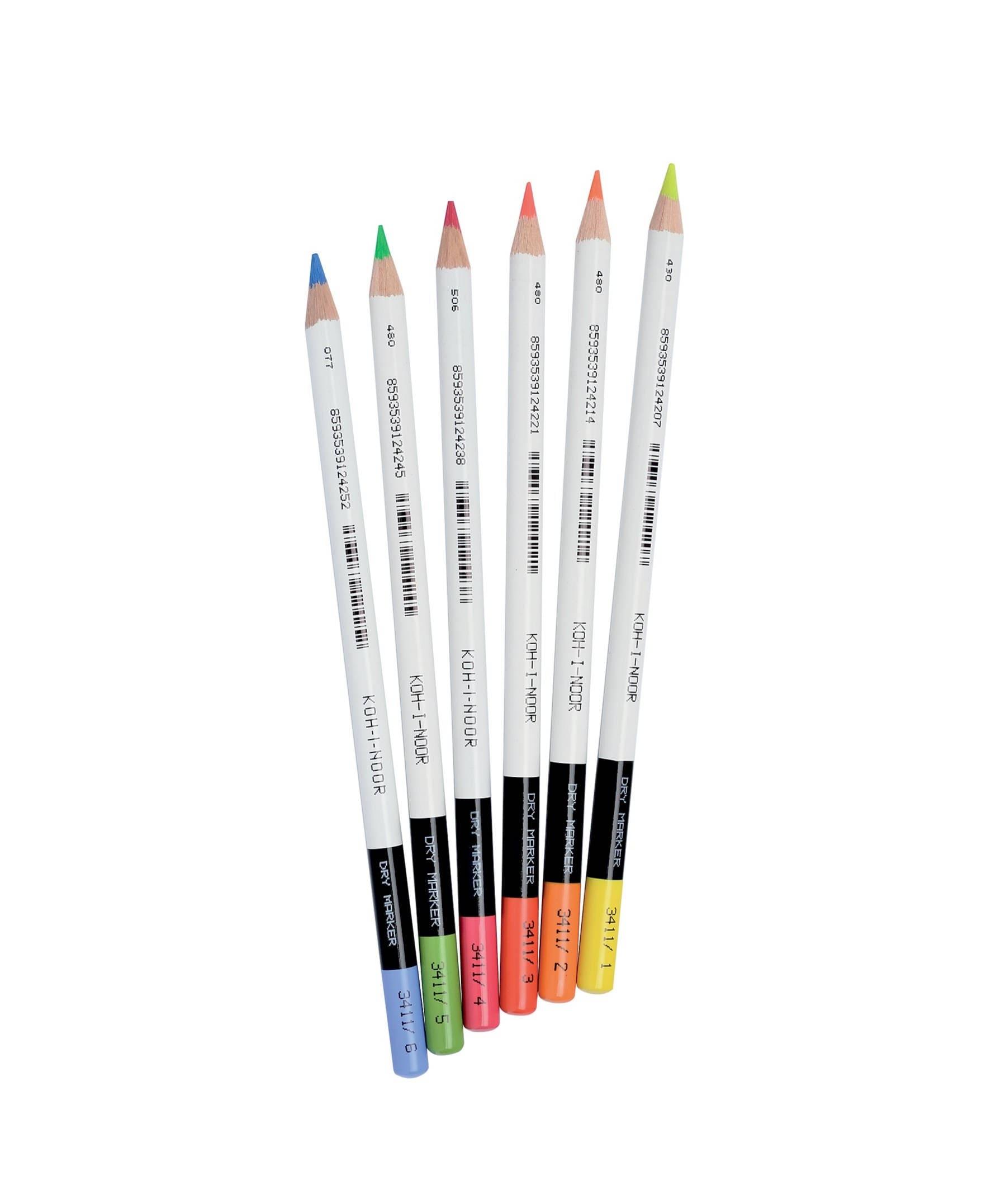 Trocken Textmarker Buntstift set 3411 3415 Koh-I-Noor Neon