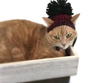 Crochet Cat Hat, Cat Hat, Pom Pom Hat