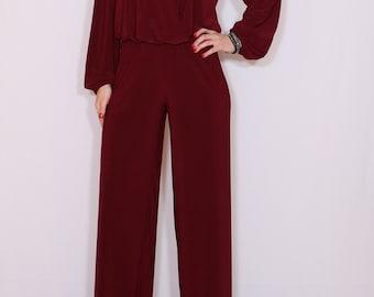 Jumpsuit women 70s jumpsuit Bohemian clothing Burgundy Wine red Formal dress Handmade Boho