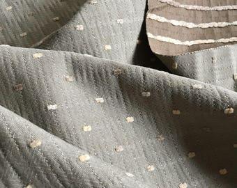 Sage Green Ivory Dobby Dot Upholstery Fabric