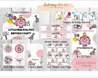 Little Miss Princess Digital Printable Birthday Invitation and Party Kit / Mr Men and Little Miss Birthday Party