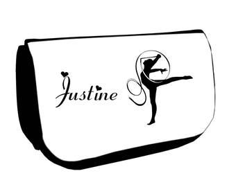 Black cosmetic case /crayons gymnastics customized with name