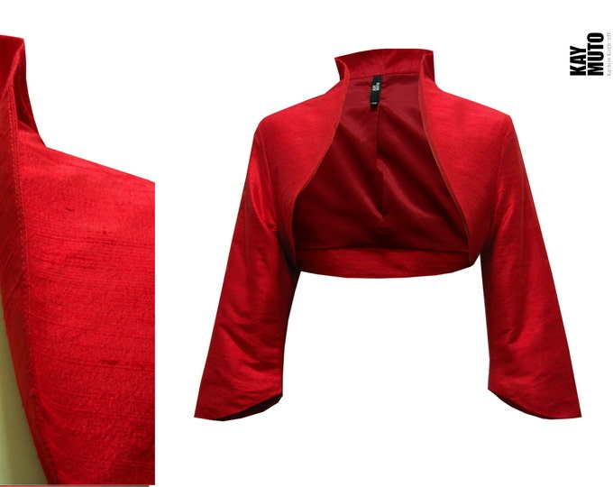 On Stock SALE 40% size Xsmall Bolero Jacket Silk bolero classic Bolero red crimson tomatored