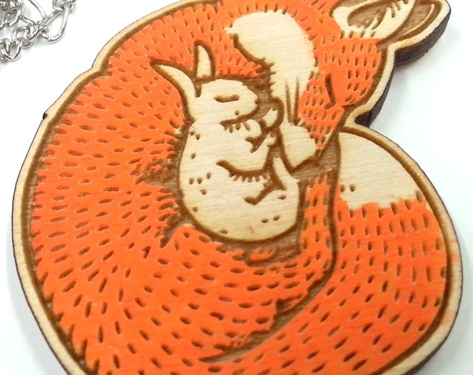 Sleeping Fox and Bunny BFF | Laser Cut Jewelry | Wood Jewelry | Wood Necklace