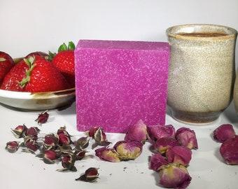 Sea Salt Pomegranate Scrub Exfoliating Soap 5 oz Natural Pink Soap Handmade Soap Gift Set Organic Cold Process Soap Vegan Soap with Sea Salt