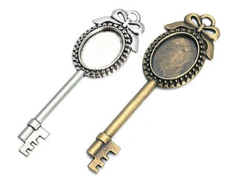 5Pcs 18x13mm Bronze or Silver Vintage Steampunk Style Cabochon Settings Skeleton Keys Pendants Jewelry Making Supplies Wedding Favors Gifts