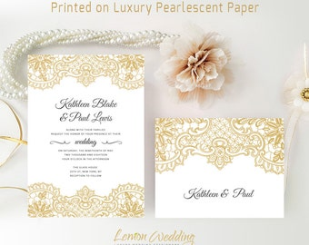 Cheap wedding invitations with rsvp postcards | Gold wedding invitations packs |  Personalised wedding invites