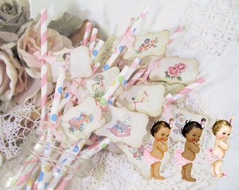 Vintage Baby Girl Mix Shower Straws w/Flags Favor - It's a Girl - Choose Straw & Ribbon Color - Set of 18 - Baby Sprinkle Shower