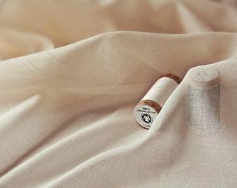 Organic Cotton Voile Fabric - Undyed & Unbleached Sheer Fabric - Soft Cotton Voile -  GOTS certification - 310 cm (122'') wide