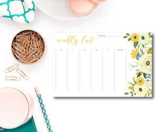 Weekly Planner Notepad, Weekly List Notepad, To Do List, Notepad, Weekly Desk Notepad, List Notepad, Planner Notepad, Office Notepad #CLW106