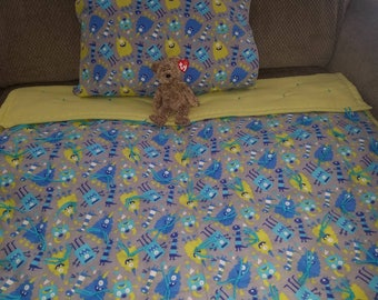 Boy's monster hand tied quilt.