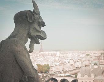 Paris Photo - Eiffel Tower and Gargoyle, Notre Dame, View of Paris, Home Decor, Travel Photograph