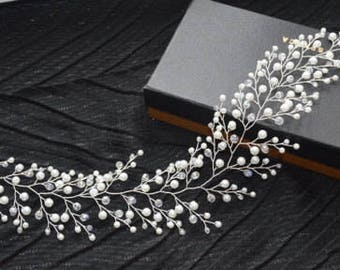 Extra long hair vine crystals Bridal hair vine wedding hair vine Crystals Bridal Wedding pearl hair vine wedding hair accessory boho