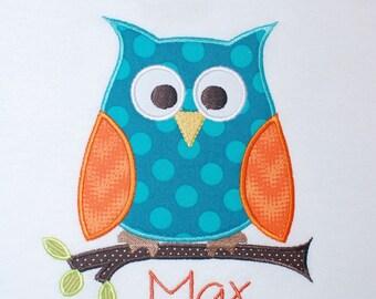 INSTANT DOWNLOAD, Machine Applique Design, Cutie Pie Owl with Branch