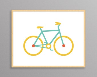 Bicycle: a Scandinavian modern design print // 8.5x11 or 13x19 // bike art // bike poster // bicycle wall art