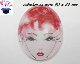 1 cabochon glass 40x30mm woman flowers theme