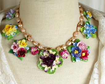 Bone China Rose Assemblage Necklace porcelain vintage multicolor flowers, brooches pins choker, jewelry, up cycled, repurposed, recycled