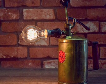 Antique brass fire extinguisher lamp