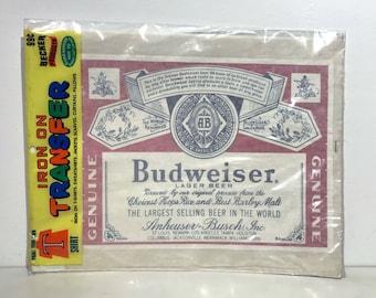 True Vintage Budweiser Logo Beer Iron On Original 1970s by Becker