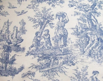Blue Toile Fabric Remnants Waverly Country Life in 4 Pieces 16 Inch Wide Upholstery Fabric