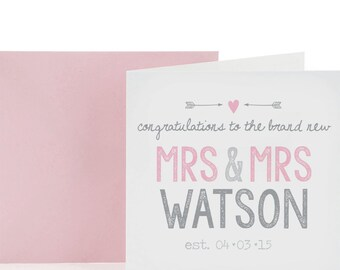Mrs & Mrs Personalised Wedding Card