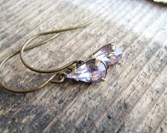 Purple Glass Jewel Earrings Vintage Cut Gems Pale PurpleTear Drop Gold Filled Estate Style Minimalist Modern Bridal Jewelry Sparkly