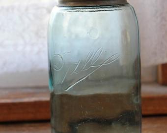"Antique Blue One Quart Ball Mason Jar With Triple ""L"" Logo 1896-1910"