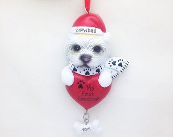 Maltese Personalized Christmas Ornament / Custom Names or Message / Stocking Stuffer