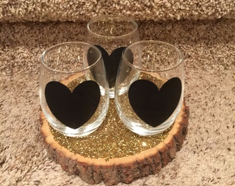 Stemless Wine Glasses With Chalkboard Heart 9oz Wedding Bridesmaids Bride Maid of Honor
